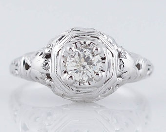 Art Deco Engagement Ring Antique .31ct Old Mine Cut Diamond in 18k White Gold