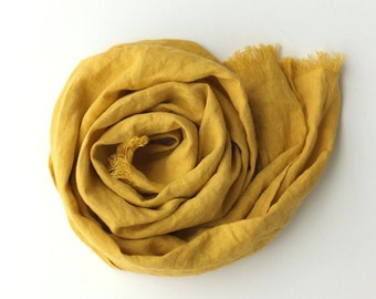 yellow pure linen scarf