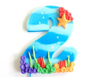 READY TO SHIP Blue Bubble Guppies Inspired Number Fondant Cake Topper
