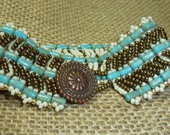 Seed Beads Duet - bead woven bracelet