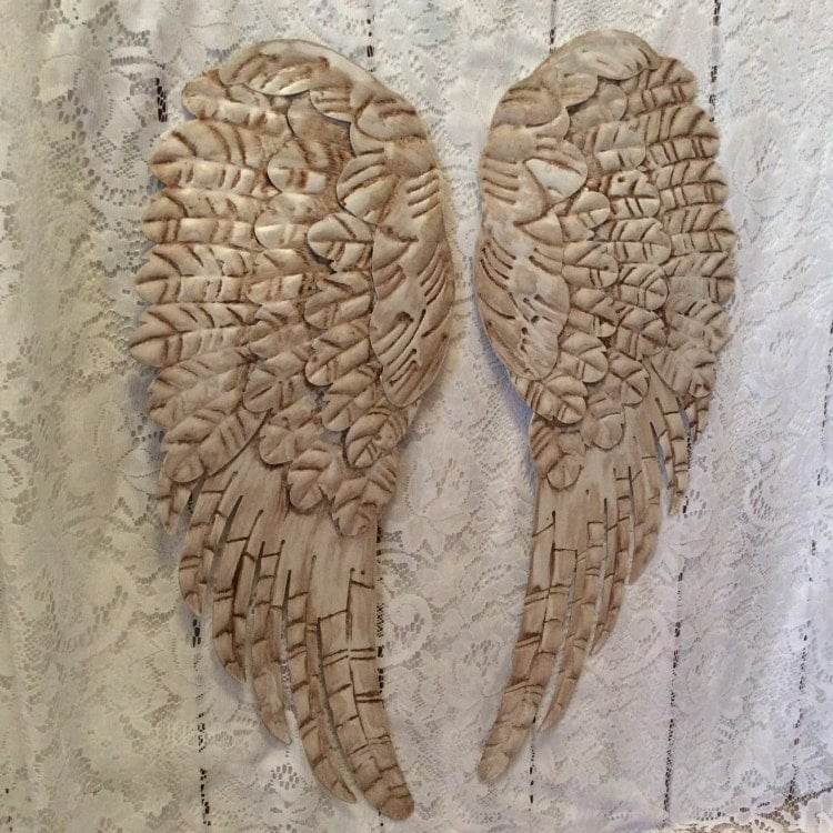 Large Distressed Wall Decor : Large metal angel wings wall decor distressed by
