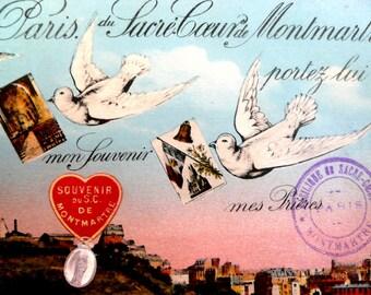 Vintage Paris Postcard, Vintage Sacre Coeur Postcard, Montmartre, Antique Postcard