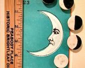 Lunar phase magnets } set of 5 porcelain ceramic magnets with moon phases, lunar calendar } new moon, crescent, quarter, gibbous, full moon