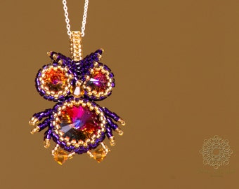 Cute beaded owl pendant with swarovski crystals. Purple volcano pendant. Handmade jewelry. Jewelry for her.