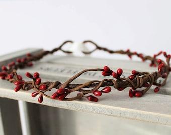 Deep Red Crown Wedding, Flower Girl Crown, Bridesmaid Crown, Boho Wedding, Berry Head Wreath, Winter Wedding, wedding headdress, rustic