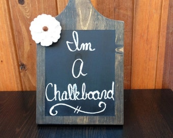 Free Standing Chalkboard Sign with White Burlap Flower