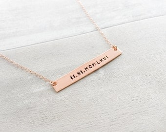 Roman Numerals Rose Gold Filled Bar Necklace
