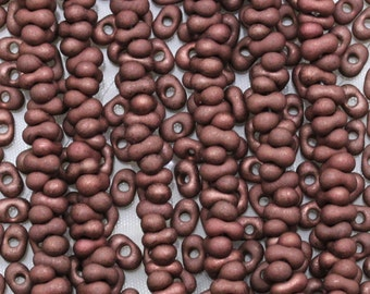 25 grams 2x4mm Matte Dark Bronze Farfalle Japanese Glass Beads, peanut beads, berry beads, Matsuno beads