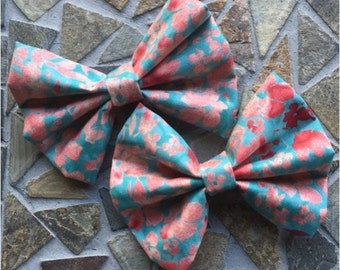 Peach and Turquoise Spring Floral Hair Bow Set