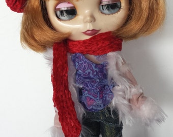 Burgundy Chenille Knit Beret and Scarf for Blythe