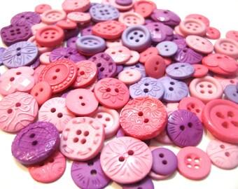 Pink Purple Bulk Buttons Sew Thru PRECIOUS PRINCESS