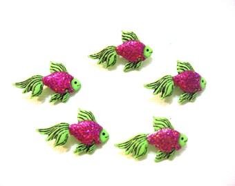 Fish Buttons Jesse James Buttons Tropicana Dress It Up Buttons Purple Green Glitter Set of 5 Shank Back - 751