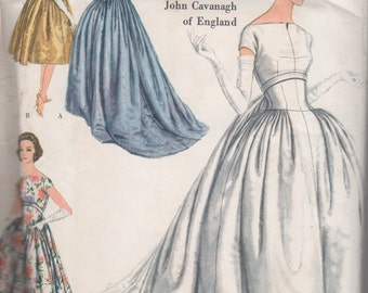 Vogue Couturier Design 148 One Piece Dress and Wedding Dress, John Cavanagh Designer 1958