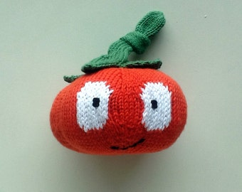 Doudou tomato red and green handmade for baby