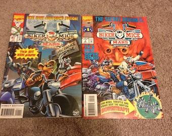 Vintage lot of 2 Biker Mice From Mars 1993 #1 Marvel comics