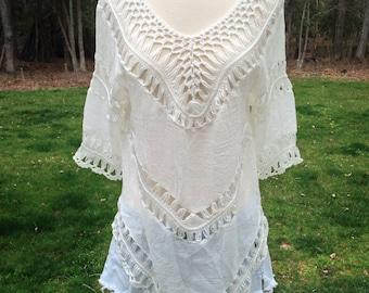 Off White Chevron Crochet Tunic, Cozy Chevron Top