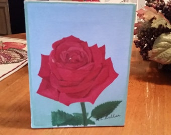 Small Vintage Rose Picture On Canvas..........perfect for the Cottage Style Home!