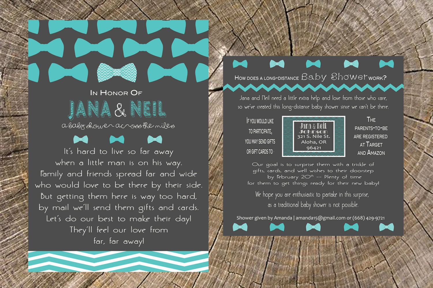 long distance baby shower boy bow tie 5x7 invitation and 5x5