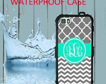Waterproof iPhone 6 Waterproof iPhone 5 Case Monogram iPhone Case iPhone 5C Case Personalized iPhone 5  iPhone 5S Case Heavy Duty