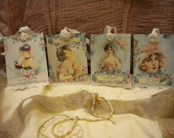 Hanging / Gift Tags Beautiful Sabby Chic Vintage Women with Lace and Fabric Rose