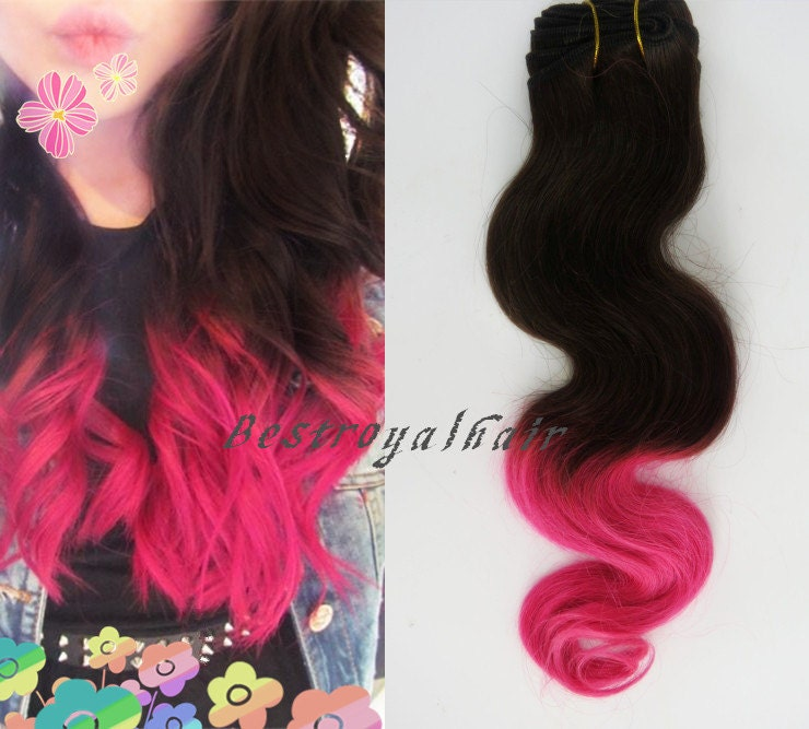 Off Black to Hot Pink Two Colors Ombre Hair by BestRoyalHair