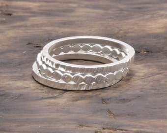925 stering silver 3 pcs mix textured band ring