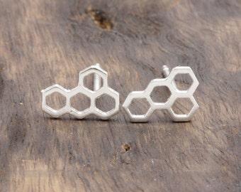 925 stering silver lovely honeybee comb stud earrings, gift fr her, wedding gift (E_00014)