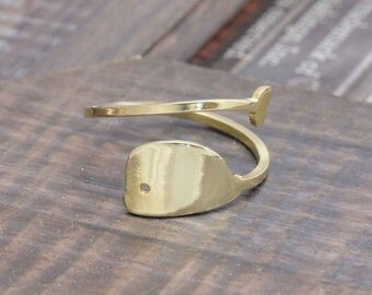 925 vermeil gold shiny whale ring (R_00022)