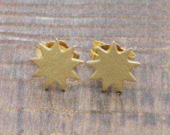 925 vermeil gold lovely spurs stud earrings (E_00030)