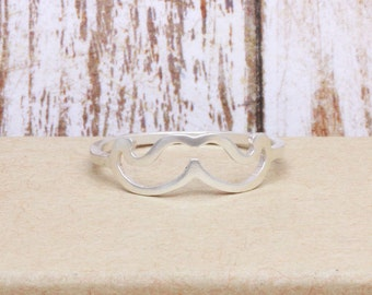925 stering silver mustasche band ring (R_00042)