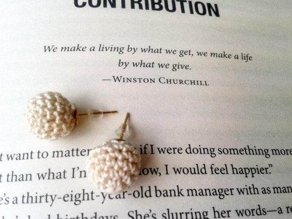 Crochet Pearl Stud Earrings