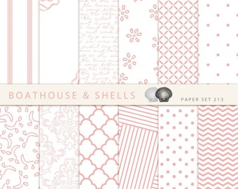 "LIGHTPINK PURE & SIMPLE Papers, 12 Digital Papers, Digital Scrapbook Paper Pack (12"" x 12"", 300 dpi, jpg) - Download - Printable - 213"
