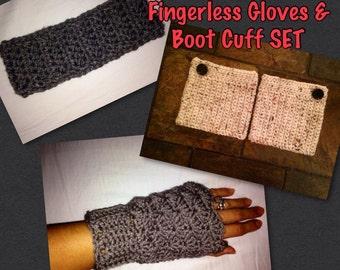 Ear Warmer, Fingerless Gloves & Boot Cuff SET