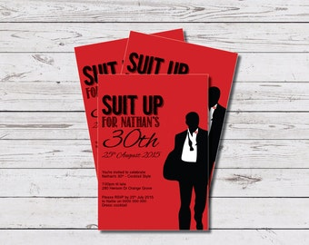 Printable Birthday Invite - Suit Up Design