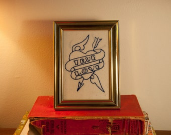 True Love - Framed Embroidery of Classic Sailor Jerry Tattoo Flash