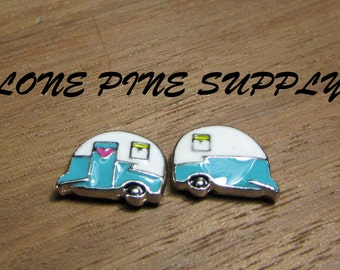 Travel Trailer For Floating Charms. Small Camp Trailer.. Floating Charm. Old Camp Trailer Charm.