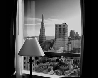 Knob Hill View, Black and White Photography,  San Francisco, Transamerica building