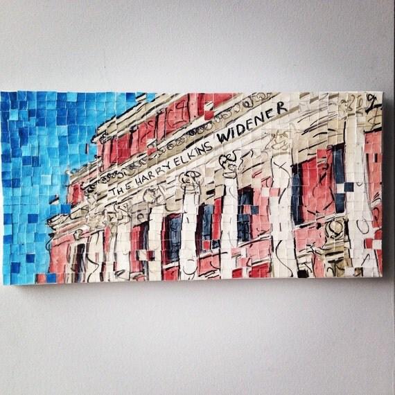 "Harvard University - Widener Library - Architectural Art: 10""x20"" Original Painting"
