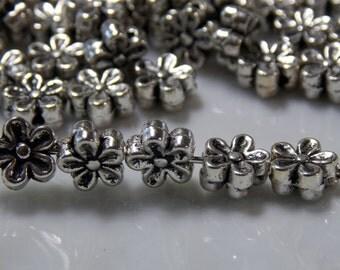Flower Beads, Tibetan Silver Flower Bead Spacers, 6x3mm Tibetan Silver- 10 beads