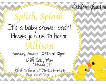 Digital Rubber Ducky Baby Shower Invitation