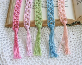 Set of Five Crochet Bookmarks, Five Pastel Bookmarkers, Bridesmaids Gifts, Group Gifts