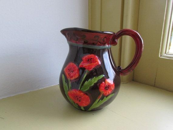 Vintage Ceramic Creamer Bella Casa By Ganz Small Brown Floral