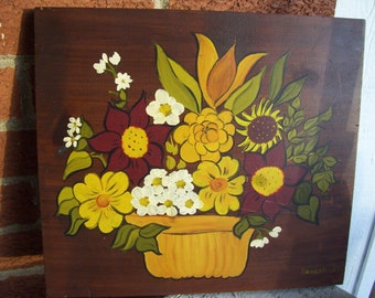 ON SALE Dark Wood Yellow Daisies,Hand Painted Retro Flowers Wood Plaque Mod