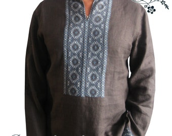 Hand-Embroidered Ethnic  shirt, made-to-order