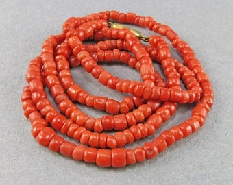 Old Coral Necklace Natural Coral Jewelry Red Coral Beads Mediterranean Coral Old Beads Jewelry Supplies Beading upplies