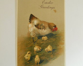 Easter Greeting Mother Hen and Chicks Used Postcard