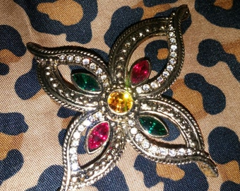 Flower Shaped Gold Toned  Multi Colored Rhinestone Brooch / Pin