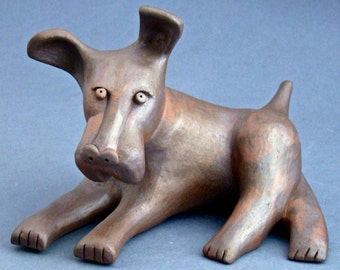 Whimsical Clay Dog Sculpture, Steven