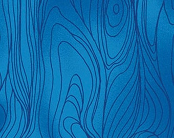 Blue Fabric, Clothwork Friends in Wild Places Y1638-31, Blue Wood Grain Fabric, Blue Cotton Fabric, Blue Quilt Fabric, Blue Wood Fabric