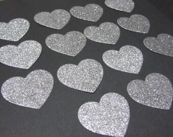 14x 3cm Silver Glitter Heart die cuts